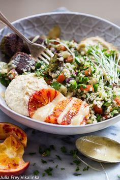 Falafel with Tabouleh, Hummus and Baba Ganoush