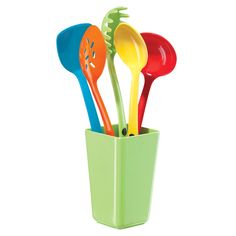 Utensil 6 Pc. Set With Holder - colorful cooking/serving utensils are a must for any kitchen #LuxeStyle