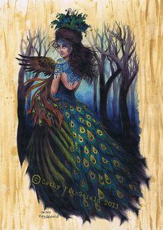 A4 Tattooed Peacock Woman in Forest with Pheasant Art Print Cathy FitzGerald  I love this, it is sooo beautiful!