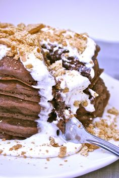 S'mores Pancakes, not the healthiest for breakfast but sure looks yummy!
