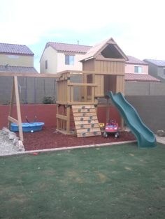 This is what the kids have now, minus the swing part. We will be adding that section when it get warmer :)