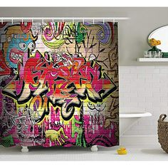 KMay Rustic Home Decor Shower Curtain by, Graffiti on Wall Urban Street Art with Spray Paint Tagger Underground Theme, Fabric Bathroom Decor Set with Hooks, 84 Inches Extra Long, Multi >>> Learn more by visiting the image link. (This is an affiliate link) Shower Curtain Art, Custom Shower Curtains, Skateboard Bedroom, Bathroom Decor Sets, Bathroom Accessories, Urban Street Art, Rustic Curtains, Graffiti Wall, Home Improvement Projects