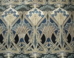 Vintage cotton fabric - iconic Liberty ianthe fabric - art deco style - blue and green shades -