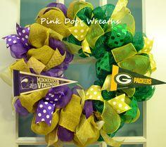 Made to Order Wreath Minnesota VIKINGS Green by PinkDoorWreaths