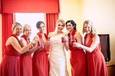 The bride + her best friends enjoy some drinks before the ceremony. ::Megan + Mark's bright + delightful wedding at the First Presbyterian Church and Summerour Studio in Atlanta, Georgia:: #red #coral #wedding #photography