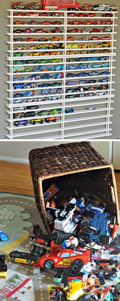 Ideas for small play room organization matchbox cars Matchbox Car Storage, Matchbox Cars, Diy Toy Storage, Storage Ideas, Storage Hacks, Storage Baskets, Storage Solutions, Small Playroom, Cocina Diy