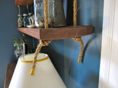 Hanging shelves with rope Hanging Rope Shelves, Rope Mirror, Kitchen Shelves, Decorating Blogs, Decor Interior Design, Home Crafts, A Table, Repurposed, Diy