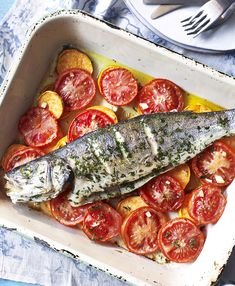 Such an easy dinner for two - a spanking fresh sea bass traybake with sweet potato and tomato.