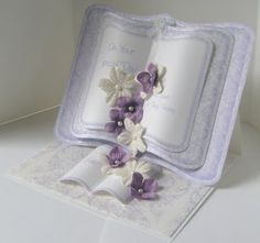 """""""On Your Special Day"""" Book Card (Site: filled with card samples, templates, & instructions) Card Book, Up Book, Fancy Fold Cards, Folded Cards, Wedding Anniversary Cards, Wedding Cards, Wedding Book, 3d Templates, Crafters Companion Cards"""