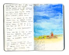 Notes from Trapani Salt Flats, Sicily, Italy, Moleskine journal sketchbook.