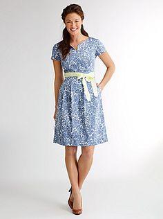 sateen cap sleeve dress in periwinkle blue floral