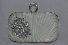 Bridal Clutch in Diamond White Crystal Brooch by TheOmbreMouse Crystal Brooch, Silver Brooch, Bridal Clutch Bag, Bridal Handbags, Handmade Clutch, Wedding Clutch, White Bridal, Bridal Shower Gifts, Metal Chain
