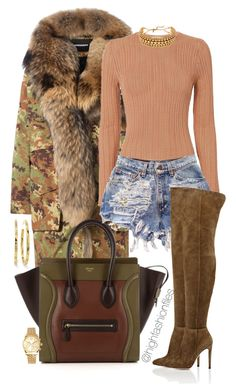 Untitled #2681 by highfashionfiles on Polyvore featuring polyvore fashion style Torn by Ronny Kobo Dsquared2 Gianvito Rossi CÉLINE Ippolita Erickson Beamon Michael Kors clothing