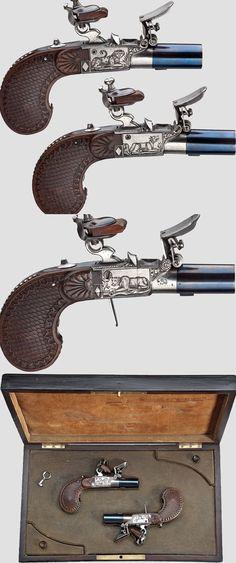 A pair of cased flintlock travelling pistols, Liège, 1810/20