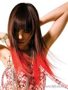 Dip dye brunette red