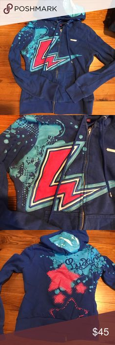 Amazing zip up hoodie Blue zip up womens small hoodie by luxirie for LRG. Super cute embroidered lightning bolt with printed design on front back and hood. Super cute and hard to find Lrg Tops Sweatshirts & Hoodies