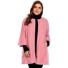 77a8b4cb30a Kinggolder Plus Size Women s Coat Autumn Winter Flare Long Sleeve Jacket  Open Front Woolen Overcoat Outwear