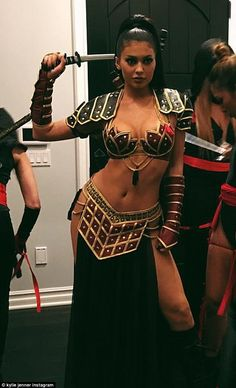 Not playing it safe:This is Kylie Jenner 's first Halloween as an adult - she turned 18-years-old in August. And the Keeping Up With The Kardashians star took full advantage of not being a minor anymore while getting ready to hang out with her friends on Saturday