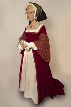 Costume based on the portrait of Jane Seymour, Queen of England, by Hans Holbein, c. 1536-1537.