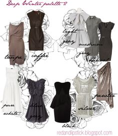 Deep Winter palette, good for neutrals.  We are also one of the few color groups that can wear black close to the face.