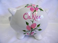 Piggy bank with a bow,Personalized piggy bank, hand painted piggy bank, piggy bank with roses, nurse Large Piggy Bank, Personalized Piggy Bank, Welcome Home Baby, Child Please, Unique Baby Shower Gifts, Pink Butterfly, Beautiful Roses, Pink Roses, Nursery Decor