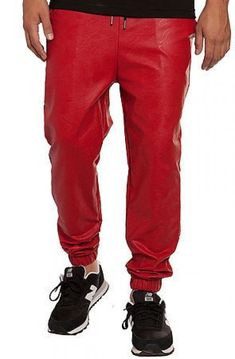 The Perforated Red Faux Leather Jogger Pants in Red - vpstyles Leather Jogger Pants, Red Leather Pants, Mens Jogger Pants, Mens Hottest Fashion, Mens Fashion, Fashion Sale, Urban Fashion, Red Joggers, Street Wear