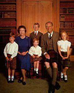1987. Queen Elizabeth and prince Phillip with their grandchildren Peter , Zara , William and Harry