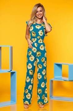 StarShinerS blue long voile fabric jumpsuit with floral prints with cut back Suits You, Ruffle Sleeve, Size Clothing, Curvy, Floral Prints, Jumpsuit, Fabric, Sleeves, Blue