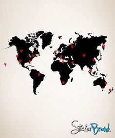 Vinyl Wall Decal Sticker World Map With Pin Drops 873m