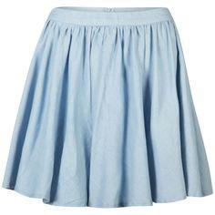 AX Paris Women's Denim Skater Skirt (€8,29) ❤ liked on Polyvore featuring skirts, mini skirts, bottoms, saias, faldas, denim blue, flared skater skirt, pleated denim skirt, high-low skirt and blue mini skirt