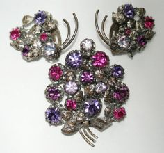 #2882 PTS Triad Purple Pink Rhinestone Pin Brooch Earrings Exclusively at Lee Caplan Vintage Collection on RubyLane
