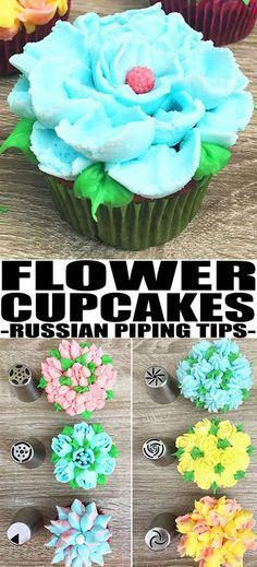 Learn how to use RUSSIAN PIPING TIPS tutorial to make beautiful buttercream flowers on cakes and cupcakes, using this easy chart or guide. Easy cake decorating idea for beginners. Frost Cupcakes, Cupcakes Flores, Flower Cupcakes, Fun Cupcakes, Easter Cupcakes, Spring Cupcakes, Cake Decorating For Beginners, Cake Decorating Designs, Creative Cake Decorating