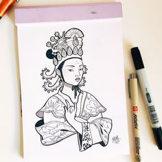 #inktober Day 23: Wu Zetian > Empress of China.  She was a Chinese sovereign who ruled unofficially as empress during the brief Zhou dynasty. Wu was the first Chinese woman to come to power on her own in 3000 years. In a highly patriarchal society she managed maintain power for decades as a highly competent ruler. Although her motives were to secure her own authority she made intelligent decisions that helped China to prosper.     #inktober #inktober2017 #ink #drawing #illustration… Wu Zetian, Zhou Dynasty, Wonder Women, Women In History, Ruler, Inktober, Sketch, Chinese, Doll