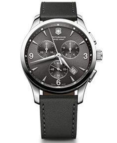 Victorinox Swiss Army Men's Chronograph Alliance Black Leather Strap Watch 42mm 241479