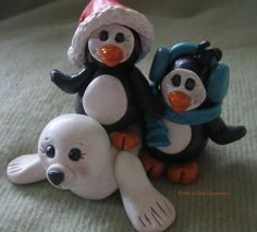 Polymer Clay Penguins with Seal by trinasclaycreations on Etsy