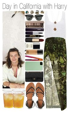 """""""• Day in California with Harry"""" by dianasf ❤ liked on Polyvore featuring Helmut Lang, Bee Charming, Miss Selfridge, Chanel, Forever 21, Ray-Ban, INIKA, L'Oréal Paris, Urban Decay and Mimco"""
