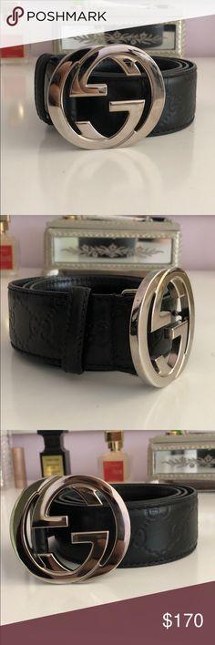 41c611db8 Unisex Authentic Gucci Belt Black unisex Gucci belt GG belt buckle Waist  size 30 - 32
