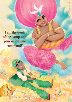 Aladdin, a Genie and a magic lamp! Art by Cathy Delanssay (http://cathydelanssay.daportfolio.com) for Storytime Issue 1 ~ STORYTIMEMAGAZINE.COM