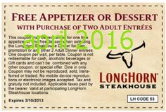Longhorn Steakhouse coupons & Longhorn Steakhouse promo code inside The Coupons App. Free appetizer or dessert with your entrees at Longhorn Steakhouse May Free Printable Coupons, Free Printables, Longhorn Steakhouse Coupons, Dollar General Couponing, Coupons For Boyfriend, Restaurant Coupons, Love Coupons, Dinner Entrees, Grocery Coupons