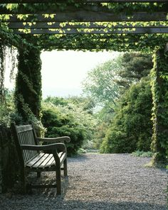 This is another possibility as you enter the backyard.....pergola, bench and a beckoning path