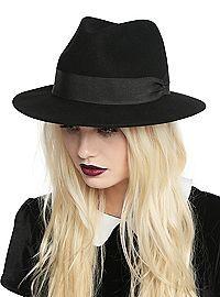 HOTTOPIC.COM - Black Wool Wide Brim Fedora