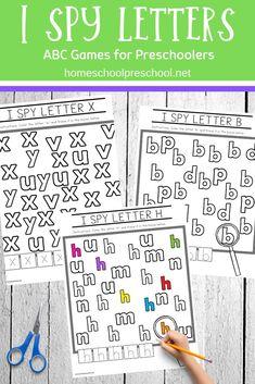 Preschool letters printables - Free Printable I Spy Letters Alphabet Worksheets – Preschool letters printables Letter Worksheets For Preschool, Preschool Literacy, Preschool Letters, Letter Activities, Free Preschool, Alphabet Worksheets, Preschool Printables, Preschool Lessons, Learning Letters