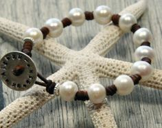 Cuero y perlas náuticas código C27p longitud por SeamistStudio