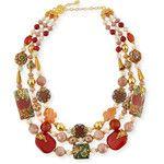 Jose & Maria Barrera Three-Strand Decoupage & Agate Necklace