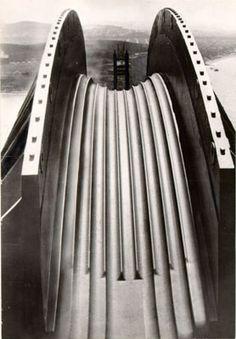 Cable rests on the Golden Gate Bridge, San Francisco, 1935  #baycityguide #sanfrancisco