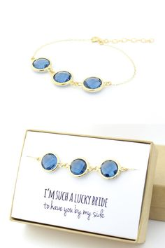 Navy Blue / Gold Bracelet  Blue Bridesmaid Gift  by ForTheMaids