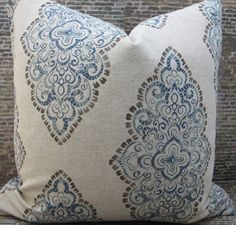 Designer Pillow Cover - Lumbar  Sizes - Blue and Brown Medallion by 3BModLiving on Etsy https://www.etsy.com/listing/190698343/designer-pillow-cover-lumbar-sizes-blue