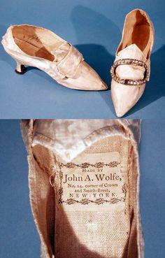 Woman's Shoes, c.1775-1785, New York, Hand-stitched silk satin with covered wooden heel and leather sole, with a metal and glass buckle. CT Historical Society http://emuseum.chs.org:8080/emuseum/view/objects/asitem/search$0040/247/title-asc?t:state:flow=d65fbe43-59dd-4e97-8c85-4698da371065