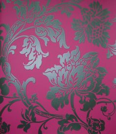 Eastern Rose Wallpaper - Steel damask style floral printed on fuschia