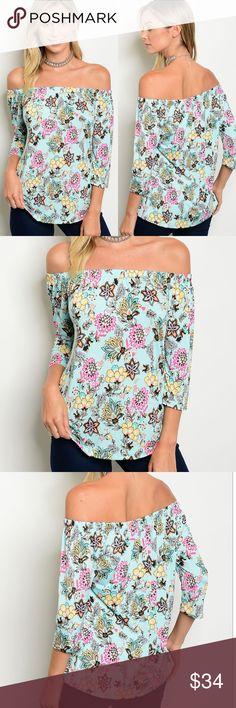 LAST 1🚨🐳Aqua floral off shoulder top Off Shoulder 3/4 Sleeve Floral Print Top. Polyester and rayon blend. BellaBae Tops Tunics